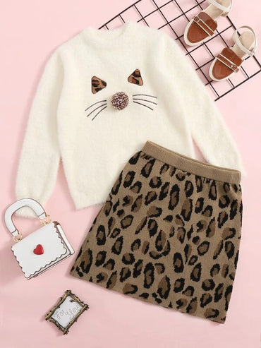 Girls Pompom Detail Embroidery Detail Fuzzy Sweater Top & Leopard Skirt Set