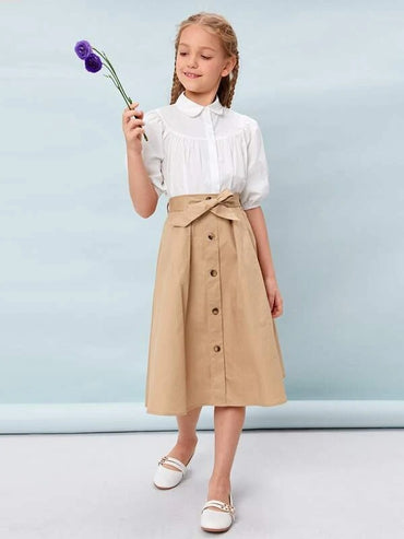 Girls Puff Sleeve Blouse & Self Belted Skirt Set