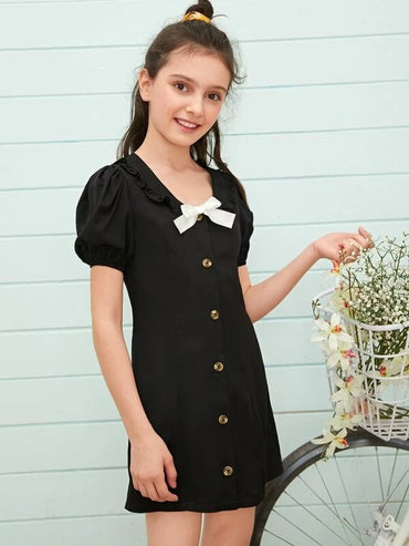 Girls Puff Sleeve Bow Detail Single Breasted Dress