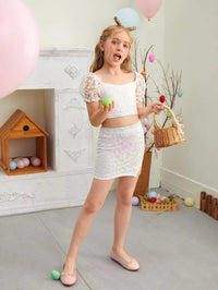 Girls Puff Sleeve Embroidery Mesh Top & Split Hem Skirt Set