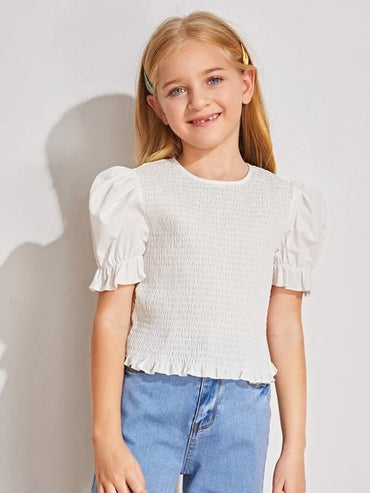 Girls Puff Sleeve Frill Trim Shirred Top