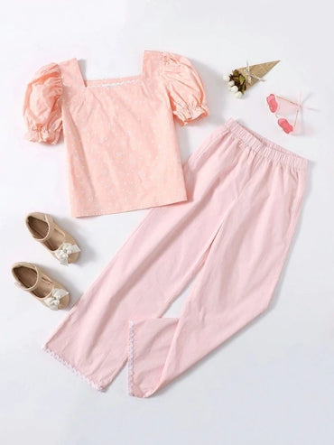 Girls Puff Sleeve Heart Print Top & Wave Tape Pants Set