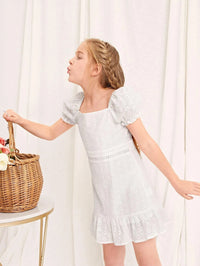 Girls Puff Sleeve Schiffy Embroidered Dress