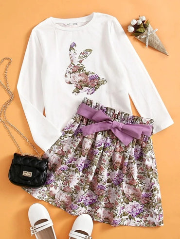 Girls Rabbit Graphic Tee & Floral Belted Skirt Set