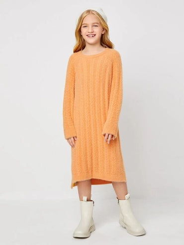 Girls Raglan Sleeve Fuzzy Sweater Dress