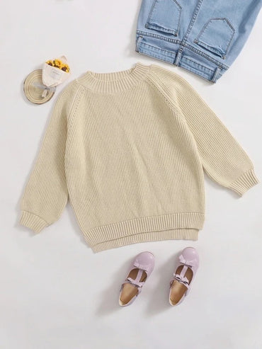Girls Raglan Sleeve Split High Low Hem Sweater