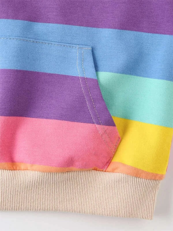 Girls Rainbow Striped Longline Hoodie
