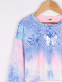 Girls Reflective Butterfly Print Tie Dye Crop Tee