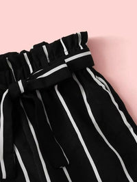 Girls Rib-knit Bardot Top & Paperbag Waist Belted Striped Pants Set