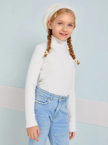 Girls Rolled Neck Solid Sweater