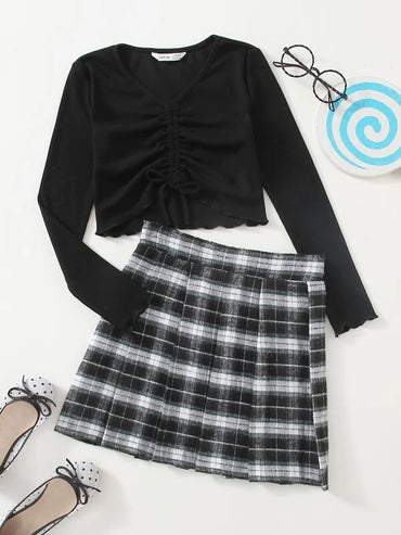 Girls Ruched Drawstring Front Top & Plaid Pleated Skirt Set