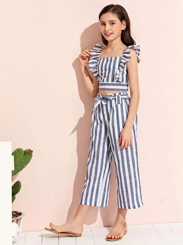Girls Ruffle Armhole Striped Top and Tie Waist Pants Set