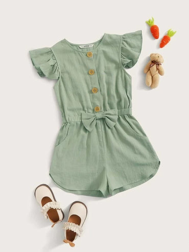 Girls Ruffle Cuff Button Front Bow Detail Romper