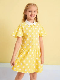 Girls Ruffle Cuff Polka Dot Dress