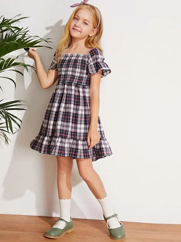 Girls Ruffle Hem Shirred Detail Plaid Dress