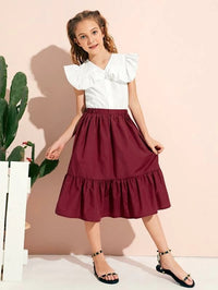 Girls Ruffle Trim Blouse and Skirt Set