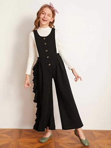 Girls Ruffle Trim Button Front Pinafore Jumpsuit