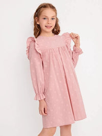 Girls Ruffle Trim Dot Embroidery Dress