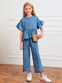 Girls Ruffle Trim Peplum Top & Frilled Pants Set