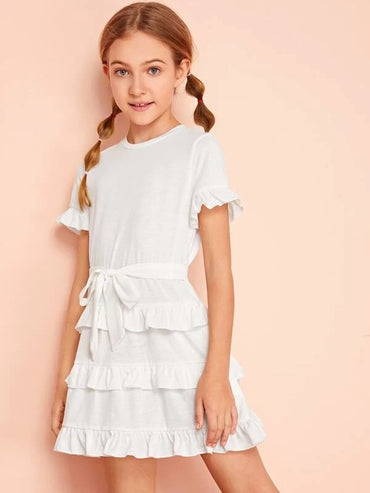 Girls Ruffle Trim Self Belted Solid Dress