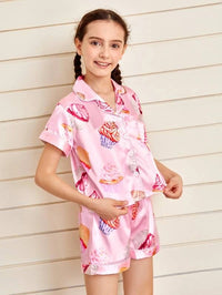 Girls Satin Cake Print PJ Set