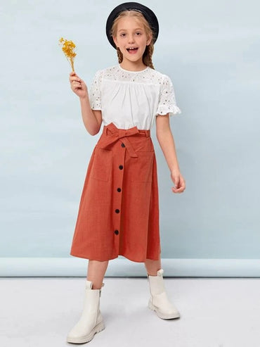 Girls Schiffy Embroidered Top & Button Front Belted Skirt Set