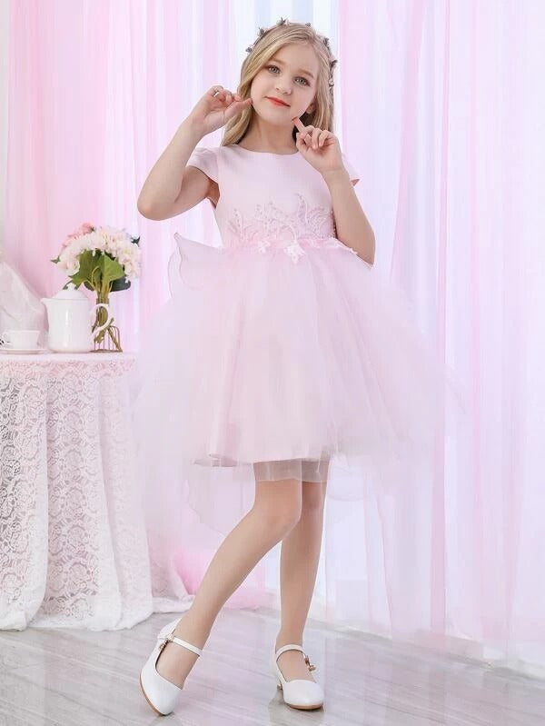 Girls Sequin Appliques Bow Back Mesh Dress
