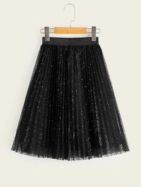 Girls Sequin Mesh Pleated Skirt