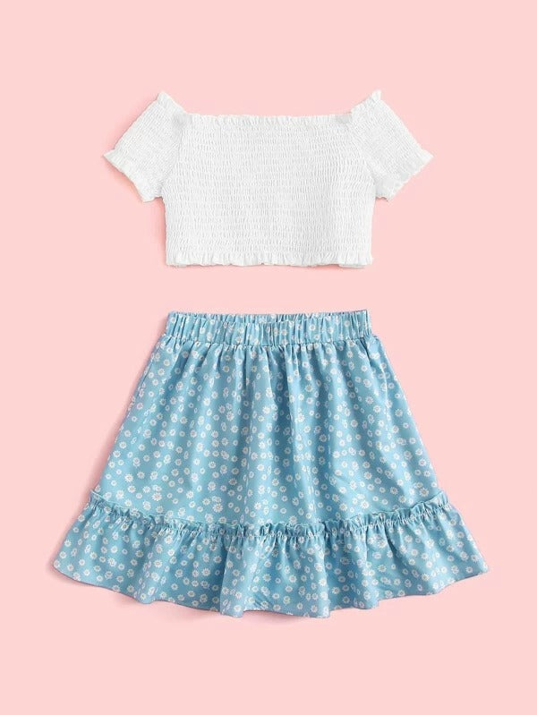 Girls Shirred Bardot Top and Ditsy Floral Skirt Set