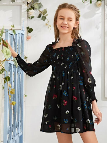 Girls Shirred Bodice Lantern Sleeve Floral A-line Dress