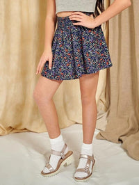 Girls Shirred Waist Ditsy Floral Skirt
