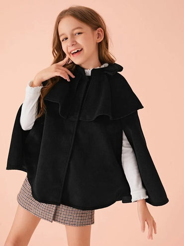 Girls Single Breasted Cape Coat