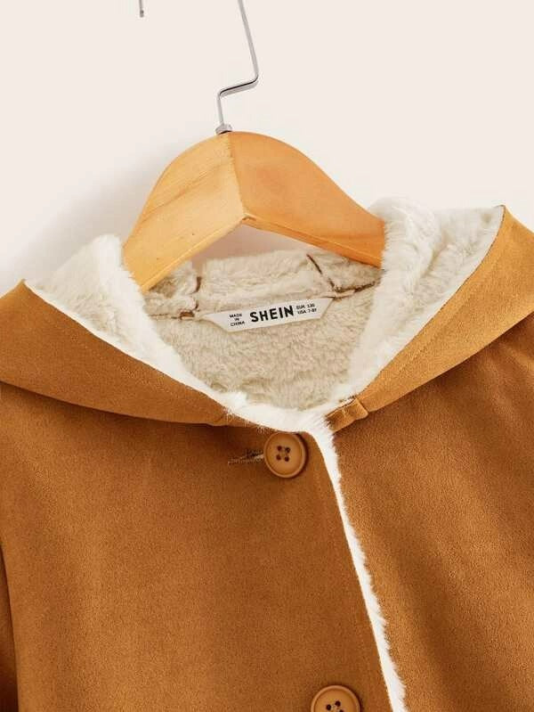 Girls Single Breasted Faux Shearling Hoodie Coat