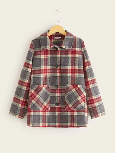 Girls Single Breasted Pocket Front Plaid Coat