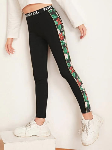 Girls Slogan Elastic Waist Floral Print Side Leggings