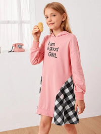 Girls Slogan Graphic Gingham Panel Sweatshirt Dress
