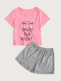 Girls Slogan & Cartoon Graphic Lace Trim PJ Set