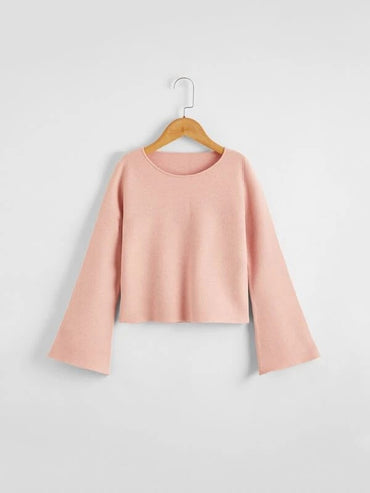 Girls Solid Bell Sleeve Sweater
