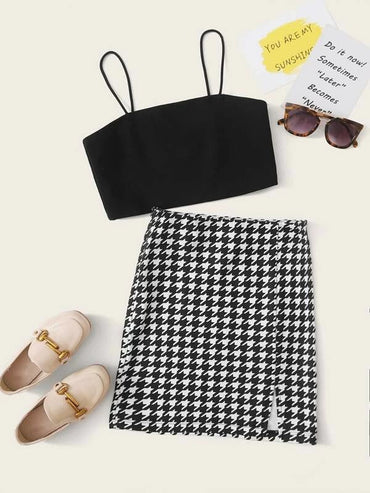 Girls Solid Crop Cami Top & Houndstooth Skirt Set