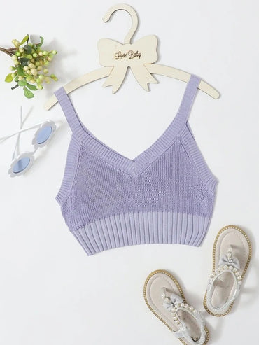 Girls Solid Knit Cami Top