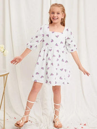Girls Square Neck Ditsy Floral Print Dress