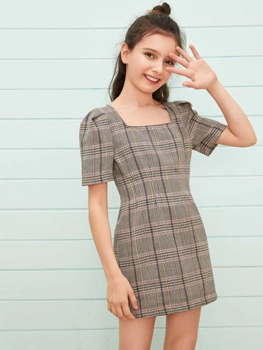 Girls Square Neck Puff Sleeve Plaid Dress