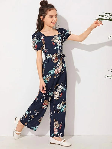 Girls Square Neck Puff Sleeve Wide Leg Belted Jumpsuit