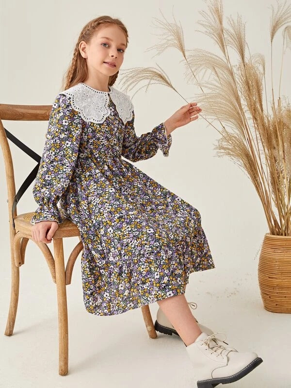 Girls Statement Collar Flounce Sleeve Ditsy Floral Dress