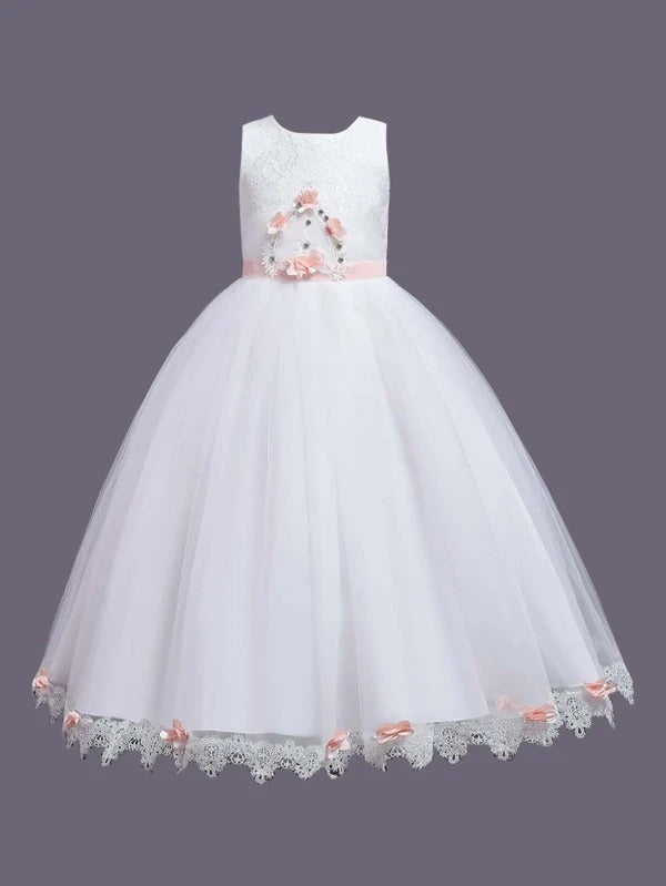 Girls Stereo Floral Rhinestone Embroidery Tutu Dress