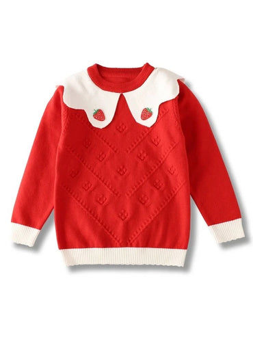 Girls Strawberry Patched Scallop Trim Sweater