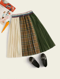 Girls Striped Glitter Waistband Colorblock Pleated Skirt