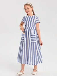Girls Striped Patch Pocket Dress
