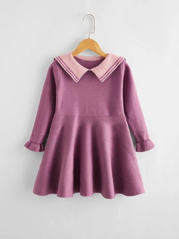 Girls Striped Sailor Collar Knit Dress