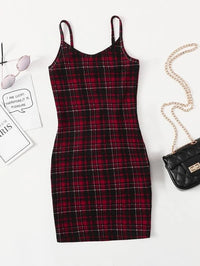Girls Tartan Print Bodycon Dress